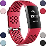 Wepro Bands Compatible with Fitbit Charge 3 and Charge 3 SE, Waterproof Band with Breathable Holes for Women Men, Small, Large