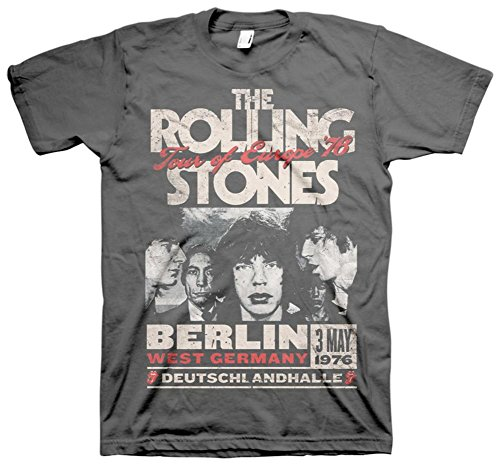 Rolling Stones Berlin Tour of Europe '76 Adult T-Shirt M Black