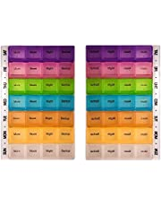PuTwo Pill Box 7 Days 28 Compartments 2 Pcs Pill Organisers BPA Free Pill Box Large Capacity Medicine Organiser for Vitamin Fish Oil Supplements Medication - Multicolour