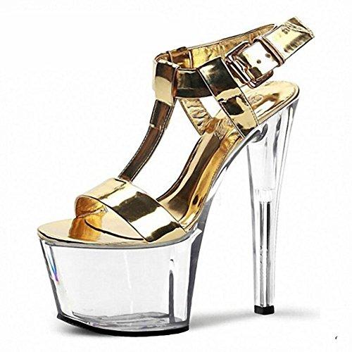 SYYAN Damen Frühlings Sommer Leder wasserdicht goldene Farben-Gürtelschnalle Superkristallstöckel Sandalen , gold , 44