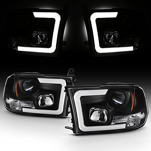 For 2009 2018 Dodge Ram 1500 2500 3500 Truck Led Tube Black Projector Headlights Left Right Replacement