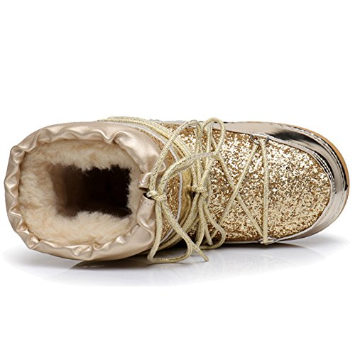 Sequins Outdoor Lace Bottom Gold Up Btrada Full Fashion Booties Ankle Women Boots Short Fur Snow Lined Thick Hxwq5BwF