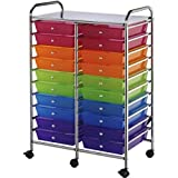 20 Pull Out Multicolored Storage Drawers Steel Frame Mobile Organizer