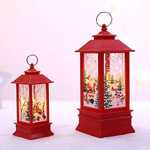 Christmas Rustic Lantern LED Hanging Vintage Lantern Build-in LED Candles Water Resistant Small Lantern Lights for Indoor Outdoor Use Xmas Tree Wall Decor (D)