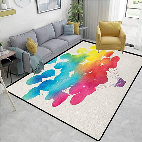 Hallway Rug Watercolor Hot Air Balloon Rainbow Colors Cute Heart Shapes Cheerful Happy Machine-Washable/Non-Slip Sky Blue Yellow Pink Red