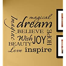 Magical dream imagine believe wish joy hope beauty love inspire Vinyl Wall Decals Quotes Sayings Words Art Decor Lettering Vinyl Wall Art Inspirational Uplifting