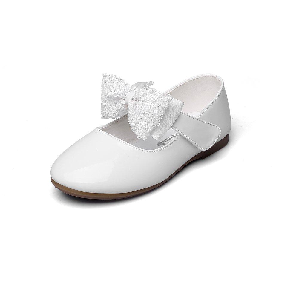 Maxu Girls PU Fashion Dress Flat,White,Toddler,10M