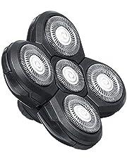 Rakhuvud 5 huvuden hållbar praktisk fräs ersättningsblad skägg universal simning snabb dubbelring hårklippare elektrisk rakapparat rakning (svart)