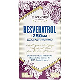 Reserveage - Resveratrol 250mg, Cellular Age-Defying Formula, 60 Capsule