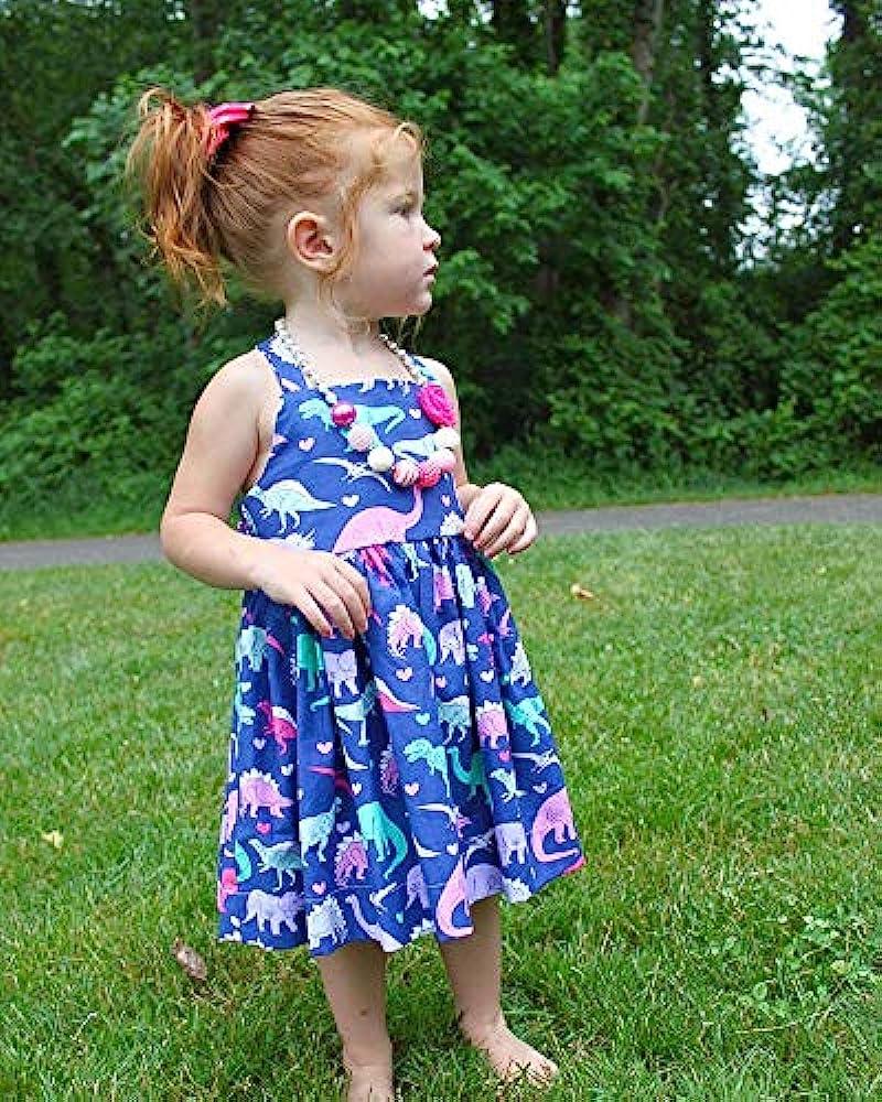 Frogwill Toddler Girls Fifties Summer Dress Blue Rainbow 2-7Y