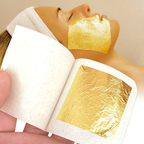 100 pcs 2.5x2.5cm 24K Pure Gold Leaf Skin Care Facial mask The Skin Appears Drained and densified with Each Application The Skin Looks firmer and Lines are smoothed from KINNO