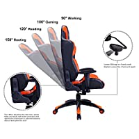 HAPPYGAME Large Size Racing Gaming Chair 350 lbs Capacity Ergonomic High Back Office PC Computer Desk Chairs PU Leather Executive Office Chair from HAPPYGAME