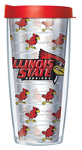 Illinois State University Repeat Logo Clear 16 Oz Traveler Tumbler Mug with Lid