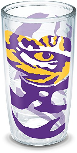 Tervis 1289375 Lsu Tigers Tumbler with Wrap, 16oz, Clear