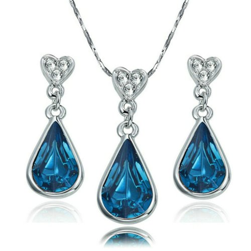 yoursfs 18K White Gold Plated Necklace and Earring Set Silver - 5