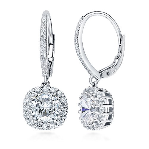 BERRICLE Rhodium Plated Sterling Silver Cushion Cut Cubic Zirconia CZ Halo Leverback Anniversary Wedding Dangle Drop Earrings