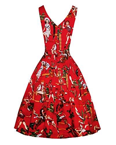 Elegante Retrò Red Rockabilly Delle 1950 Di Annata 1 Daroj Maniche Una Donne Abiti Linea Da wU1qUtWZS
