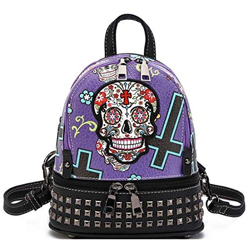 Daypack Sugar Mini Halloween Punk Skull Biker Purple Purse Small Backpack Studded Zdgwwqt4
