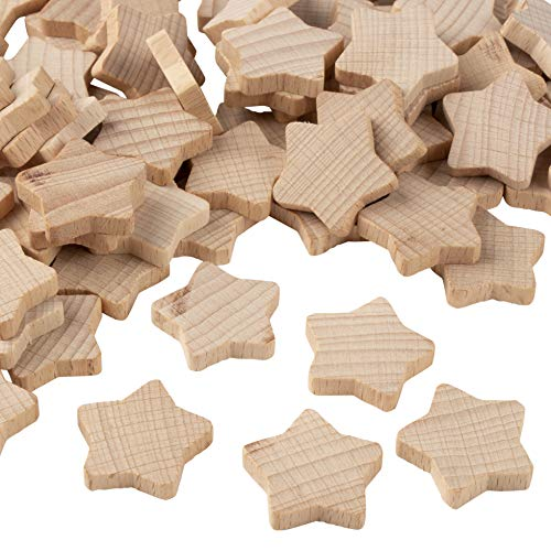 (Wooden Stars - 100-Piece Unfinished Wooden Star Cutout Shapes, 0.8 x 0.8 x 0.2 Inch Wood Stars, Star Shaped Wood Pieces for DIY Arts and Crafts)
