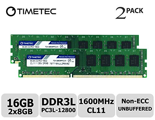 Timetec Hynix IC 16GB Kit (2x8GB) DDR3L 1600MHz PC3L-12800 Non ECC Unbuffered 1.35V/1.5V CL11 2Rx8 Dual Rank 240 Pin UDIMM Desktop Memory Ram Module Upgrade (16GB Kit (2x8GB)) by Timetec