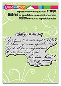 Stampendous CRP297 Script Lines Cling Rubber Stamp