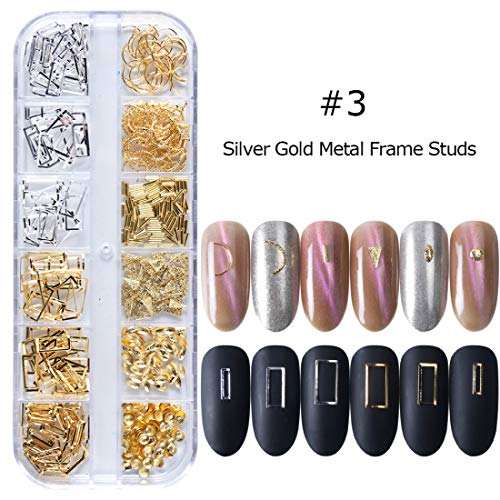 1 Box 3D Metal Rivets Frame Nail Art Decoration Seashell Oval Rose Gold Silver Studs Beads Jewelry Nail Polish Accessories (03)