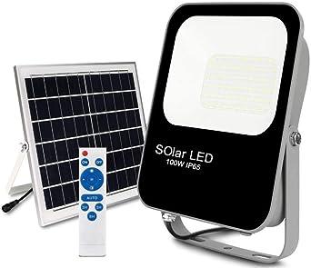 POPP®Foco Solar Exterior,lluminacion Solar,150W LED 6000K IP65 Impermeable,Lampara Solar para Jardin,Garaje,Acera,Escaleras,Patios,Terraza[Clase de eficiencia energética A+++] (150 Watios): Amazon.es: Iluminación