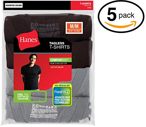 Hanes Men's Tagless Comfortsoft Crewneck T-shirt (Pack of 5) (Large, Black & Grey)