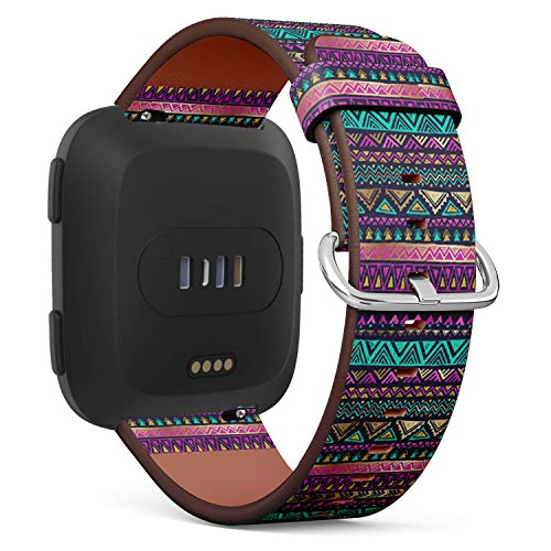 (Compatible with Fitbit Versa - Quick-Release Leather Band Bracelet Strap Wristband Replacement - Multicolor Tribal Doodle)