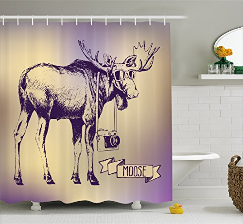 Ambesonne Moose Shower Curtain Set, Hipster Deer with Shades Sunglasses and Camera Vintage Ombre Design Funny Animal Art, Fabric Bathroom Decor with Hooks, 75 Inches Long, Purple Beige