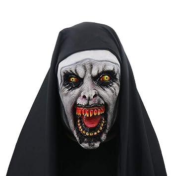 GHH Cosplay Monja Máscara Halloween Horror Miedo Mujer Fantasma Cara Fiesta Suministros