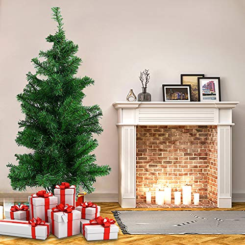 Fannybuy 4/5/6 ft Premium Christmas Snow Tree Unlit Spruce Hinged Artificial Trees with Pine Cone, with Foldable Metal Legs, Assembly Upgrade Xmas Indoors Outdoor (Green Tree, 4ft 217tips)