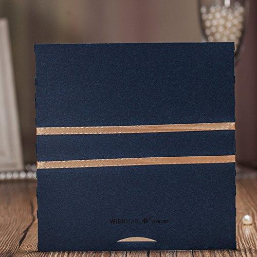 Lot de 50 Wishmade 50pcs Bleu Kit dinvitations de mariage /à coupe au laser avec ruban Design Invites Cartes pour f/ête danniversaire Graduation Baby Shower Quinceanera papier kraft