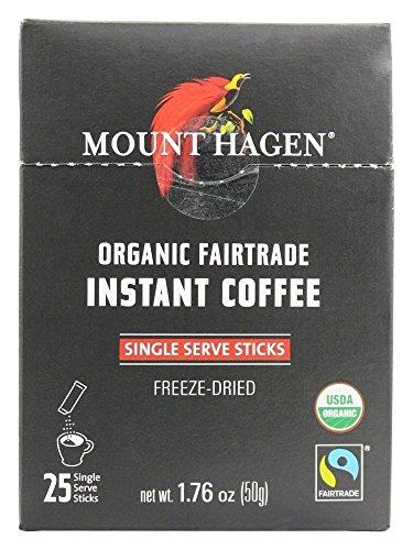 Mount Hagen Organic Instant Regular Coffee, 25 Count Single Serve packet Net wt 1.76 oz (50g)