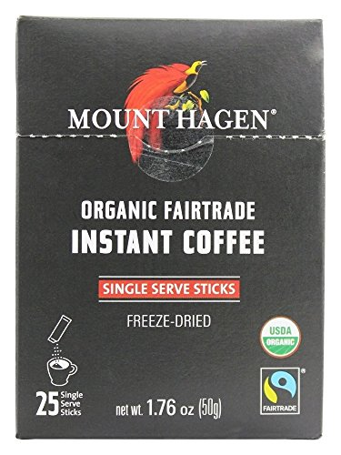 Mount Hagen Organic Instant Regular Coffee, 25 Count Single Serve packet Net wt 1.76 oz - Packet 50g