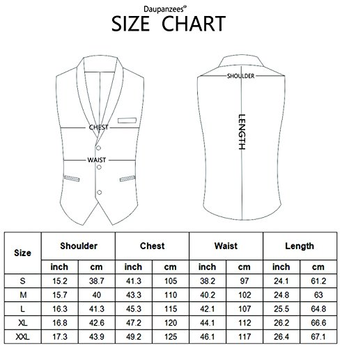 Daupanzees Mens Business Suit Vest Slim Fit 3 Pockets 3 Buttons V-Neck Wedding Sleeveless Button Down Waistcoat (Navy Blue L) by Daupanzees (Image #5)