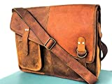 AOL Retro Buffalo Hunter Leather Laptop Messenger Bag Office Briefcase College Bag 15 inch