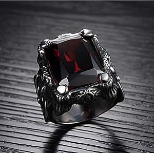 Men Ring Titanium Steel Vintga Classic Red Diamond Ring for Male US8 mr8