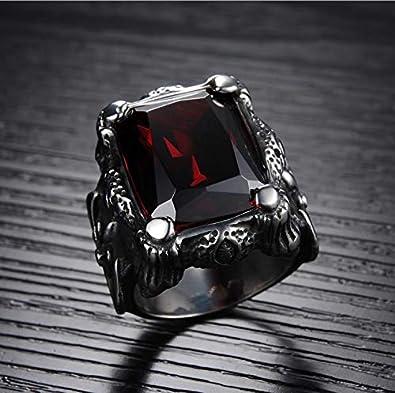 64f55743036b0d Men Ring Titanium Steel Vintga Classic Red Diamond Ring for Male US8 mr8