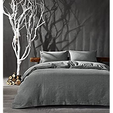 Kiss&tell Cotton Linen Wrinkle Count Egyptian Quality Duvet Cover Set, Solid, King/queen/full,three Colours (King, Gray)