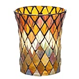 Yellow And Brown Harvest Mosaic Glass Decorative Candle Holder