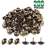 Keadic 200Pcs [ 3/4'' in Diameter ] Antique Upholstery Tacks Furniture Nails Pins Assortment Kit for Upholstered Furniture Cork Board or DIY Projects - Bronze