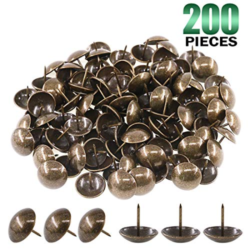 """Keadic 200Pcs [ 3/4"""" in Diameter ] Antique Upholstery Tacks Furniture Nails Pins Assortment Kit for Upholstered Furniture Cork Board or DIY Projects - Bronze"""