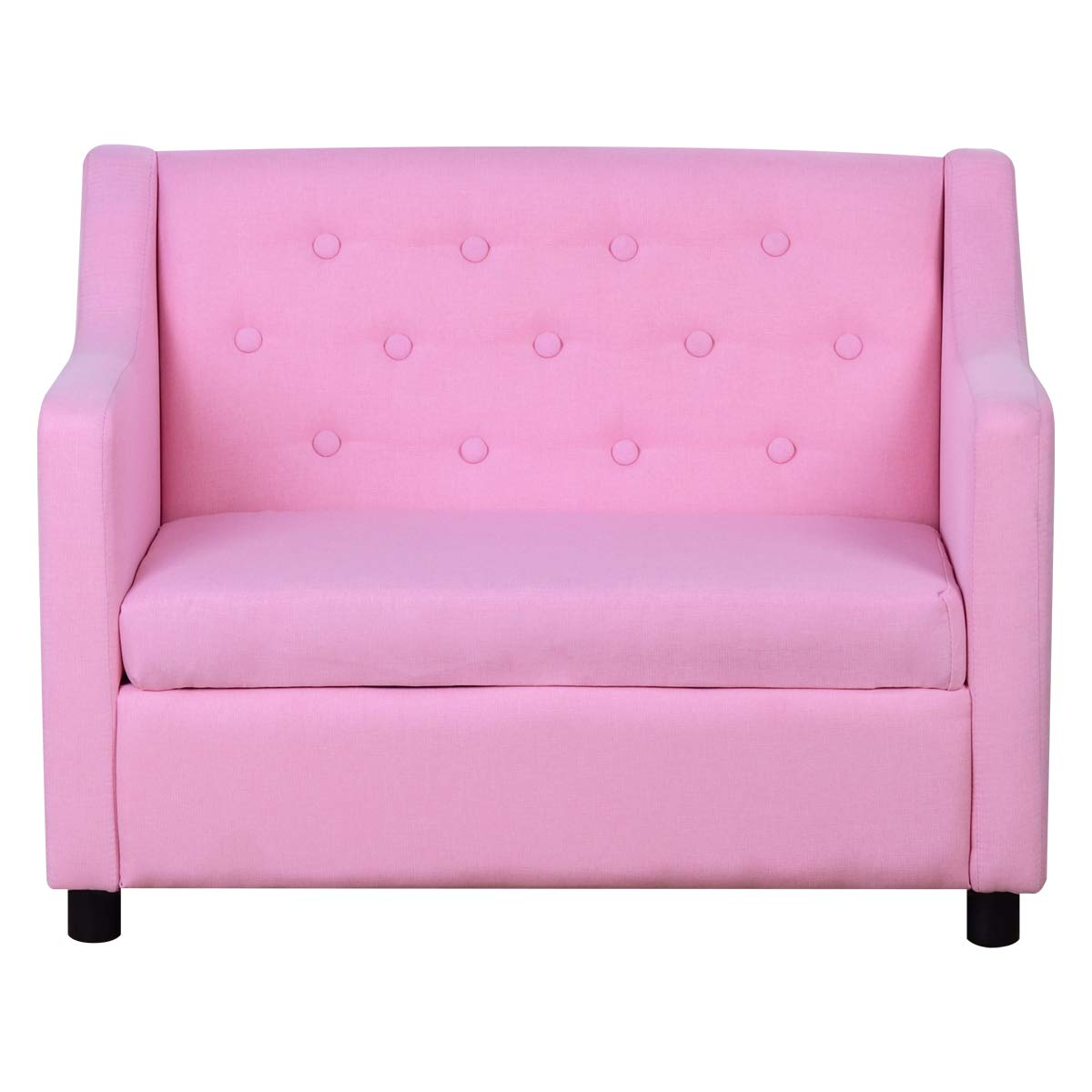 Kids Sofa 30-Inch Linen Fabric Upholstered Armchair with Storage for Children Gift Pink