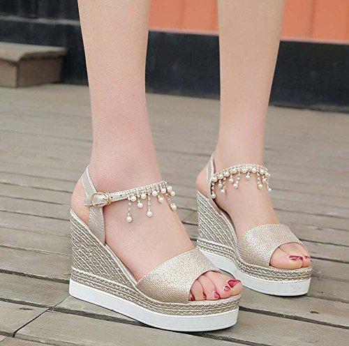 Punta Cu de de de Tacones Las de de Plataforma Altos Borla Diamantes con Abierta Moda Pendiente Imitaci as Zapatos Mujeres 6rY6q