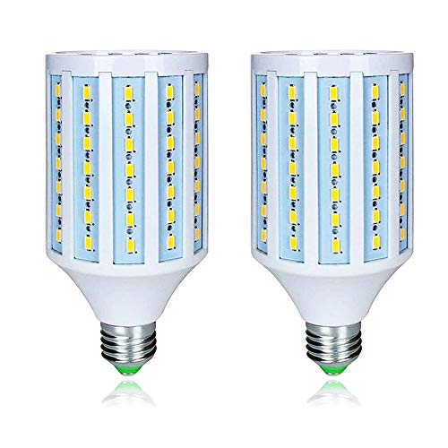 MD Lighting 25W E27 LED Corn Light Bulbs(2 Pack)- 98 LEDs 5730 SMD 2500lm COB Light Lamp Ultra Bright Daylight White 6000K LED Bulb 200 Watt Equivalent for Backyard Basement Barn Large Area,85V-265V