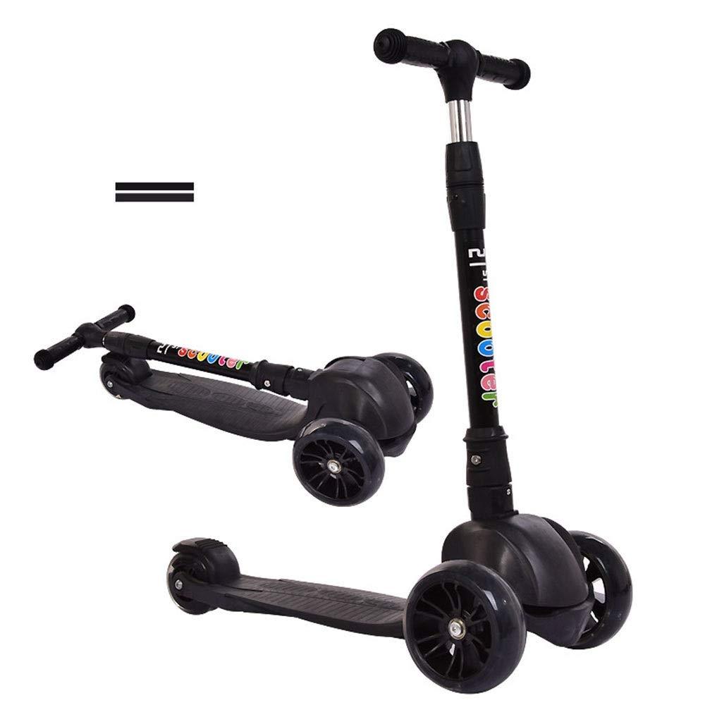 Runplayer Black 子供のフラッシュ三輪スクーター、高さ調節可能、折りたたみ式、持ち運びが簡単 )、子供の贈り物に最適 Color ( Color : Black ) B07QXV8QVZ, Easyファニチャー:128a9b92 --- mailx.ferraridentalclinic.com.lb