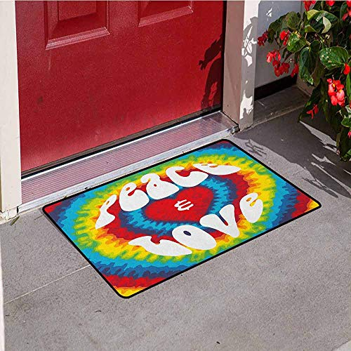 GloriaJohnson 70s Party Commercial Grade Entrance mat Peace and Love Groovy Sixties Tie Dye Heart Shaped Abstract Hippie Rainbow Art for entrances garages patios W31.5 x L47.2 Inch Multicolor -