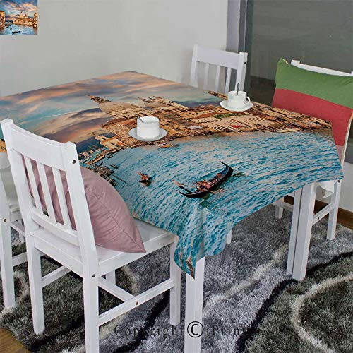 AngelSept Washable Polyester Tablecloth Velour Hemp by Gondola on Famous Canal Grande with Basilica di Santa Maria Della Salute in Evening(60