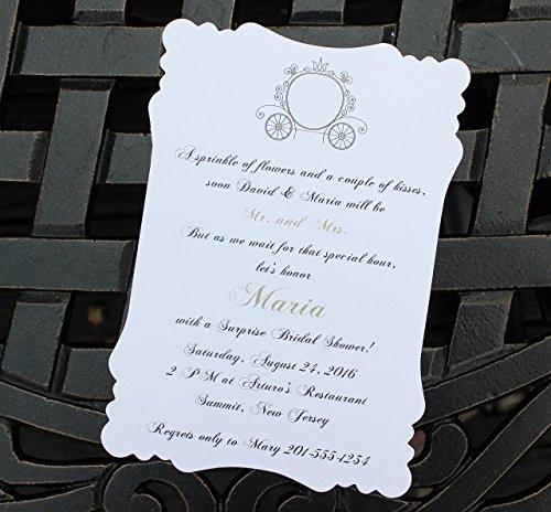 Set of 10 Bridal Shower, Wedding Shower Invitations - Cinderella's Royal Carriage -